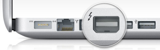 The Thunderbolt video output port shown on a MacBook Pro