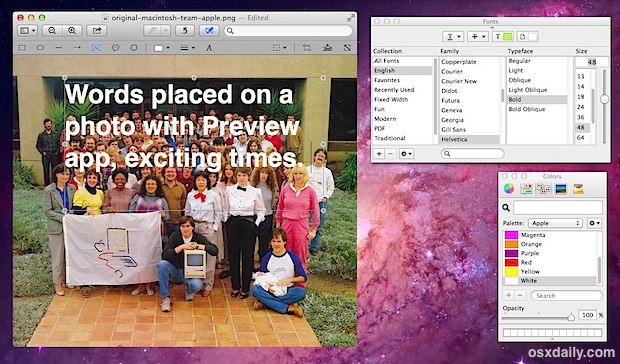 Adding text to images in Preview app under Mac OS X