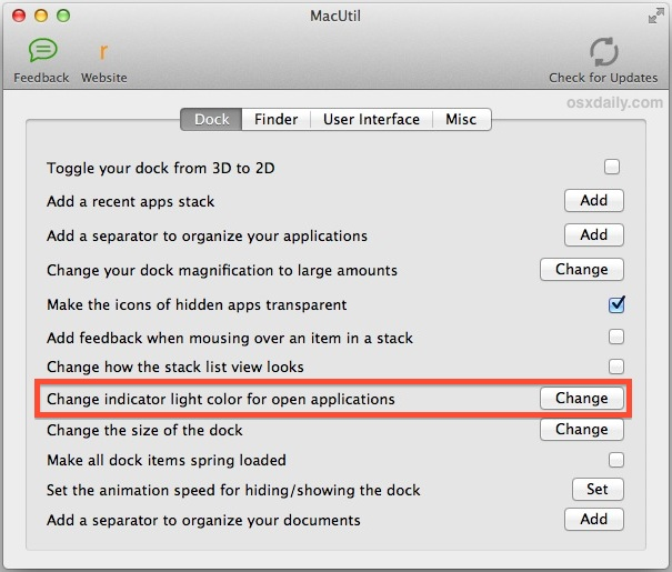 Change the Dock Indicator Colors with macUtil