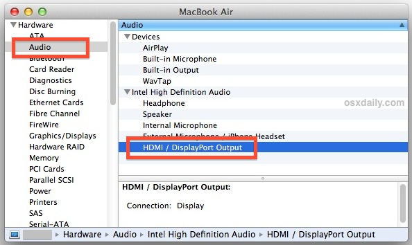 How to know if a Mac supports HDMI audio output