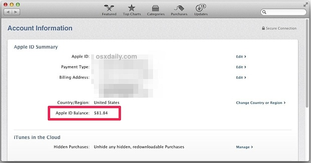 Check the iTunes credit and Apple ID Balance from the Mac App Store