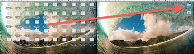 Clean up a cluttered desktop by dragging everything into a sort folder