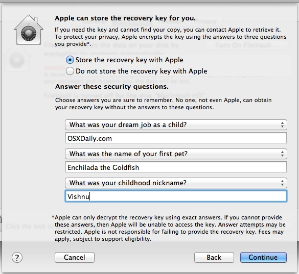 Filevault Recovery Key Questions