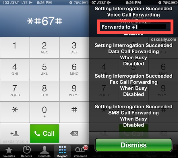 Find voice mail number by dialing *#67#