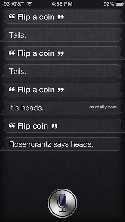 Flip a coin with Siri and the random results