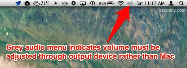 Grey volume menu icon on the Mac indicates audio volume must be changed through the device rather than OS X