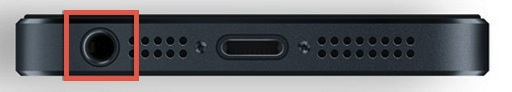 The iPhone headphone jack as highlighted