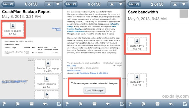 Selectively load images in email on iPhone