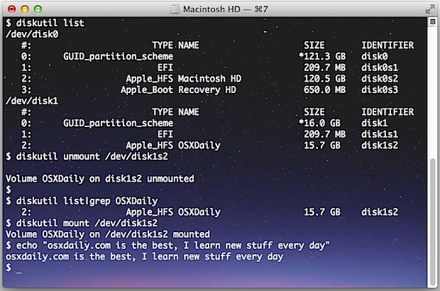 Mount and unmount drives from the command line in Mac OS X