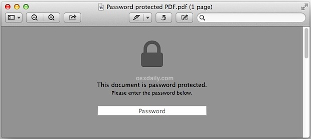 Open the password protected PDF