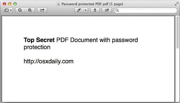 Opening a password protected PDF file