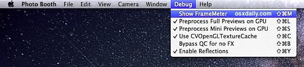 Photo Booth debug menu in Mac OS X