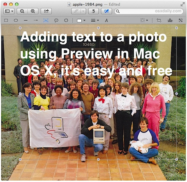 Placing text on a picture with Preview, free in Mac OS X