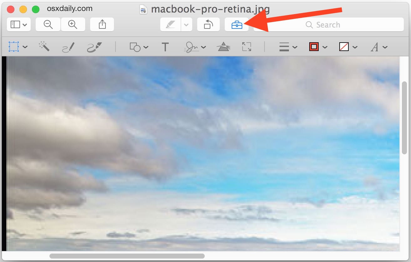 Preview show editing tools in Mac OS X