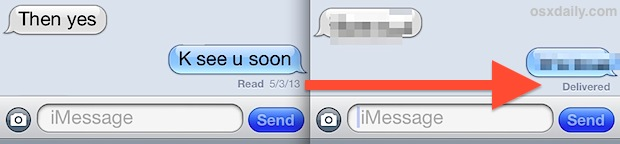 Read Receipts ON in iMessage, and OFF