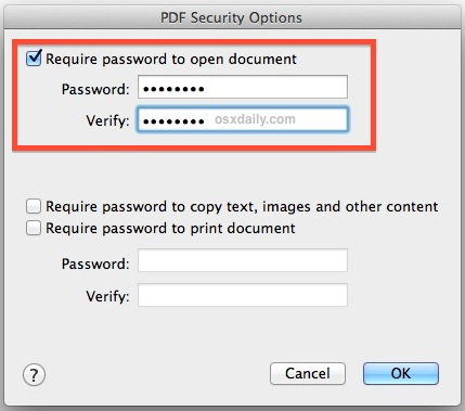 Require a password to open the PDF