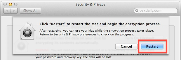 Restart to enable and begin FileVault encryption
