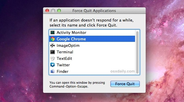 Show running apps with the Force Quit menu in Mac OS X