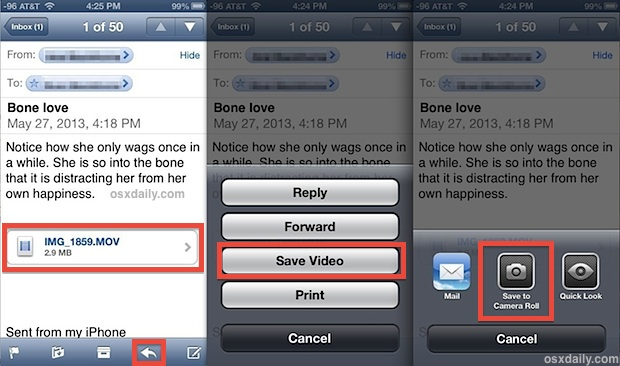 Save movies from an email to an iOS device locally