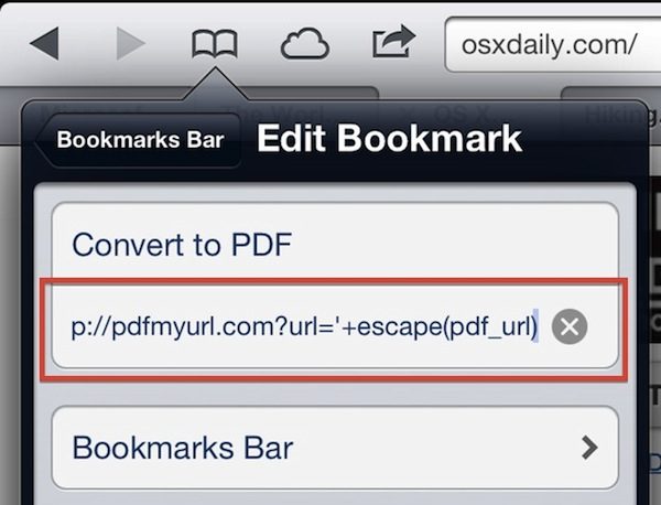 The Save a webpage as PDF bookmarklet in Safari