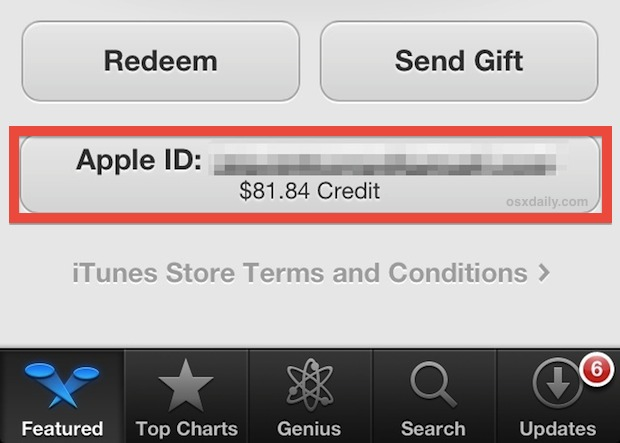 See the iTunes / Apple ID account credits and balance from App Store in iOS