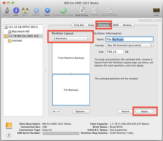 Split a hard drive for time machine and file storage dual use