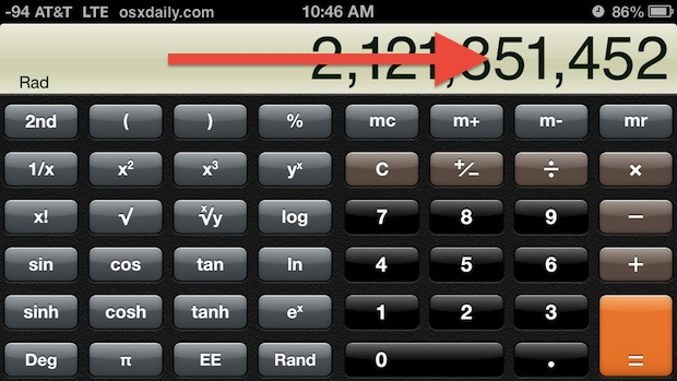 Swipe to delete in Calculator app
