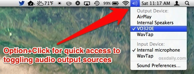 Toggle audio output sources in Mac OS X to HDMI sound, speakers, etc