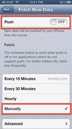 Turn off Push and set email to Fetch Manually