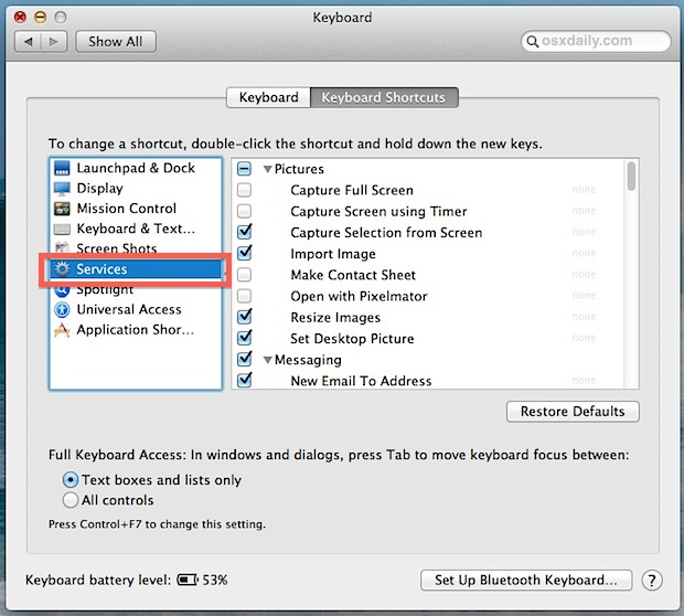 Uncheck items to remove them from the Services right-click menu in Mac OS X