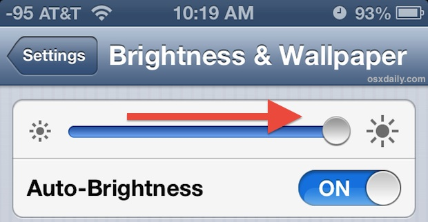 Use the iPhone in sunlight by turning brightness all the way up