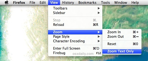 Zoom on web page font and text only in Firefox