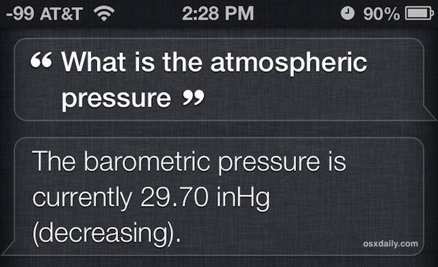 Get the atmospheric pressure from Siri