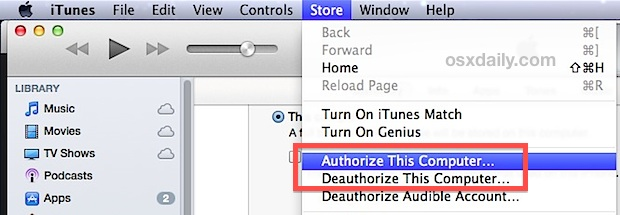 Authorize the Computer with iTunes to Sync
