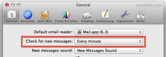Change how often Mail checks for new messages