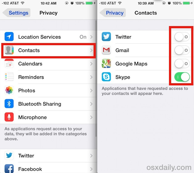 Control what apps can access Contacts in iOS