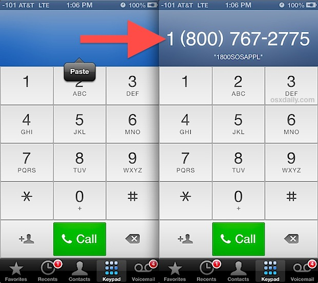 Convert and dial a vanity number on the iPhone