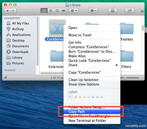 Copy a File or Folder Path through a Service in Mac OS X