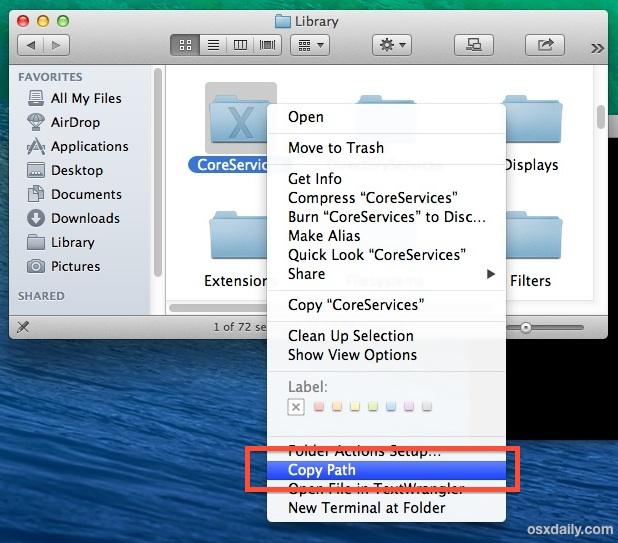 Copy a File or Folder Path through a Service in Mac OS X