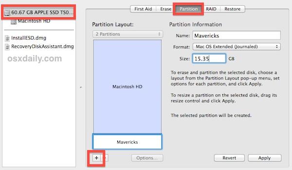 Create a dual boot partition for OS X Mavericks