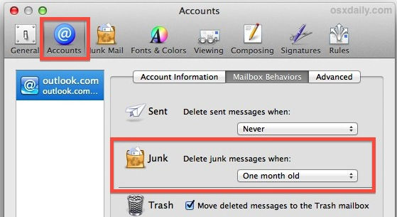 Delete old junk mail automatically