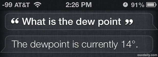Get the dew point from Siri