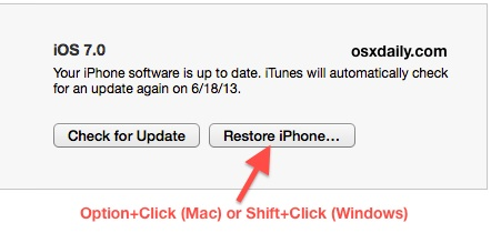 Downgrade iOS 7 in iTunes