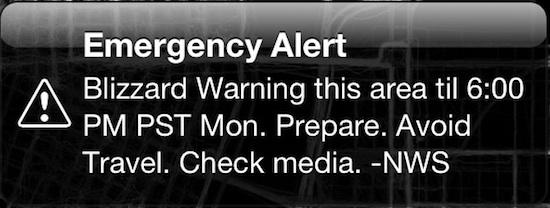 Emergency Alert on an iPhone