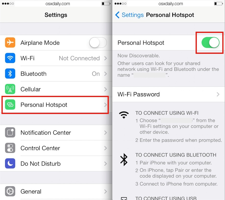 Enable the iPhone Personal Hotspot