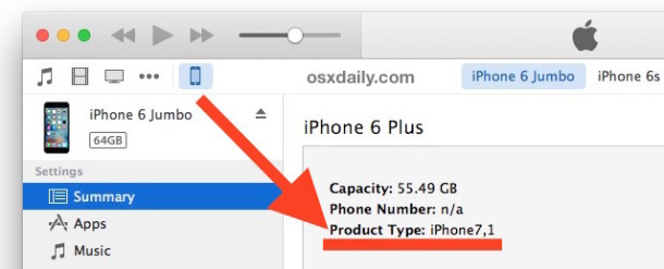 Find iPhone product type ID number