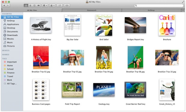 Finder tabs in OS X Mavericks