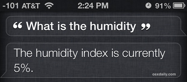 Humidity index from Siri