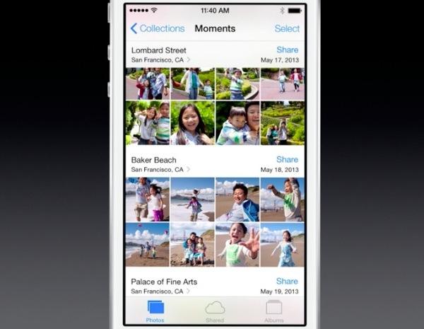 iOS 7 photos, moments