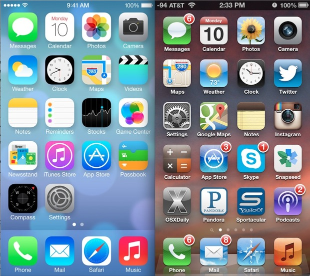 iOS 7 vs iOS 6 homescreens
